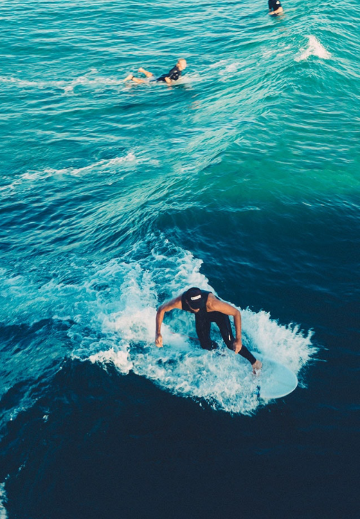 Surfers in tropical waters